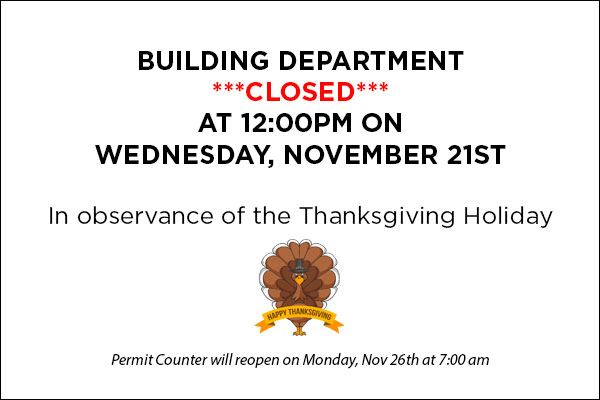 Building Closed for Thanksgiving Day