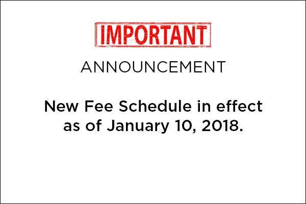 Fee Schedule 2018