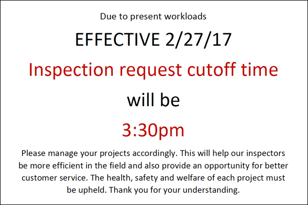 Inspection request cutoff time