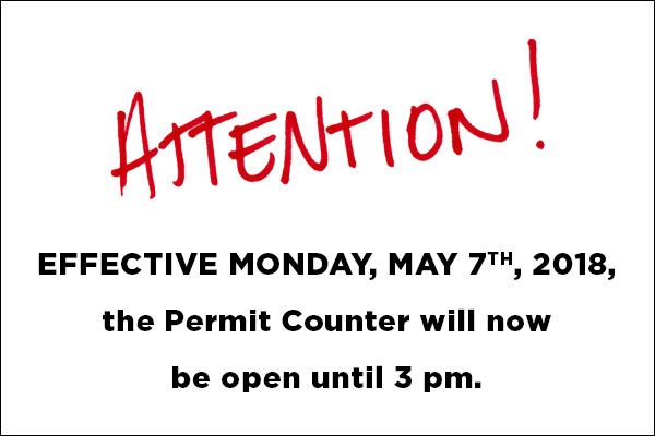 Permit Counter Open until 3:00pm