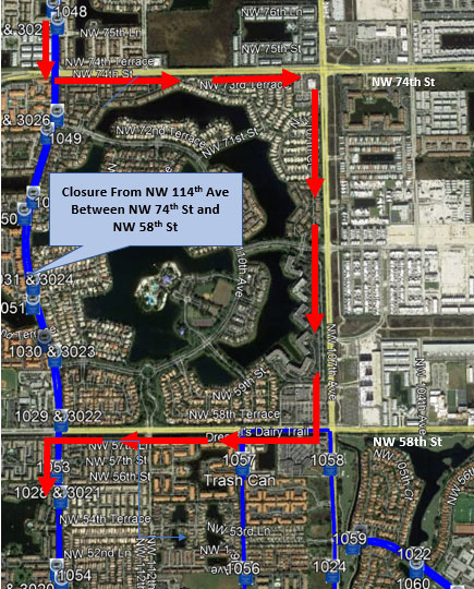 Doral Trolley Detour Map